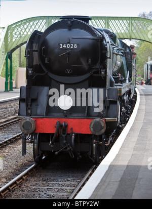 'Eddystone' steam locomotive working on the Swanage Railway.England. - Stock Photo