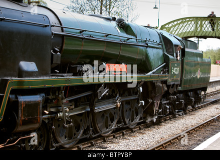 'Eddystone' steam locomotive working on the Swanage Railway.England, sitting waiting at Corfe village station - Stock Photo