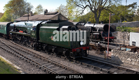 'Eddystone' steam locomotive working on the Swanage Railway.England. Just arriving Swanage railway station - Stock Photo
