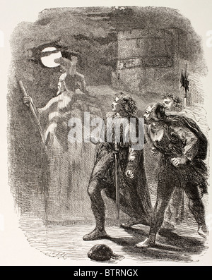 Illustration from Hamlet by William Shakespeare. Hamlet, Horatio and Marcellus see the Ghost. - Stock Photo