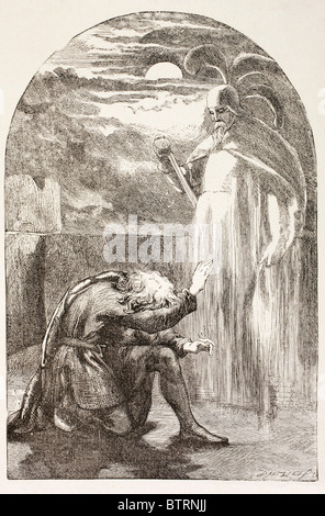 Illustration from Hamlet by William Shakespeare. Hamlet sees the Ghost, the spirit of his father. - Stock Photo