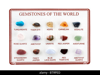 Small card with 15 samples of Gemstones of the world. Editorial use only - Stock Photo