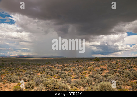Summer thunderstorm with isolated shaft of falling rain, desert of the Arizona Strip Country, north of Fredonia, - Stock Photo