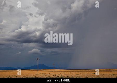 Summer thunderstorm over grasslands near Highway 89 at Gray Mountain, Coconino County, Arizona, USA - Stock Photo