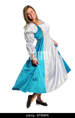 Beautiful young woman dressed in Renaissance dress isolated over white background - Stock Photo