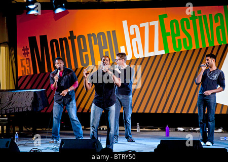 The acappella group THE HOUSE JACKS sing on the Garden Stage - 2010 MONTEREY JAZZ FESTIVAL, CALIFORINA - Stock Photo