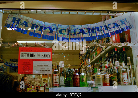 Paris, France, French Jewish Grocery Store Window in the Marais, 'Epicierie Panzer', (Rue des Rosiers), 'Happy Hanukkah' - Stock Photo