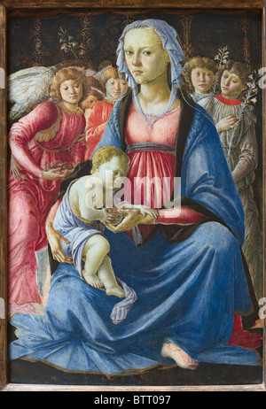Virgin and Child with Five Angels by Italian painter Sandro Botticelli, Alessandro Filipepi, c. 1470, Louvre Museum - Stock Photo