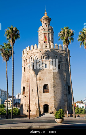 Seville Spain Torre del Oro Moorish Golden Tower River rio Guadalquivir - Stock Photo