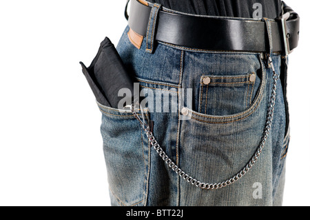 money not save in back pocket isolated - Stock Photo