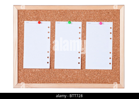 Corkboard with three blank paper notes, isolated on white background. - Stock Photo