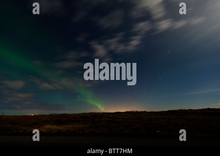 Aurora Borealis (Northern Lights) from outside Reykjavik, Iceland. - Stock Photo