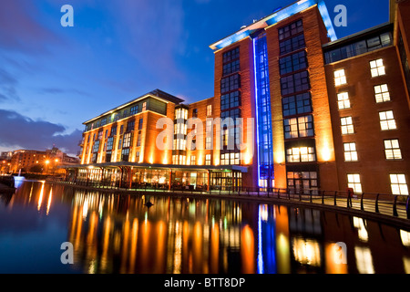 The Radisson Blu Hotel built on the site of the municipal gasworks, Beflast, Northern Ireland - Stock Photo
