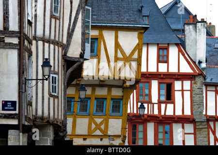 Halt timbered houses in Vannes, Brittany, France - Stock Photo