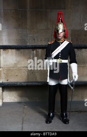 Royal Guard in Buckingham palace, London - Stock Photo