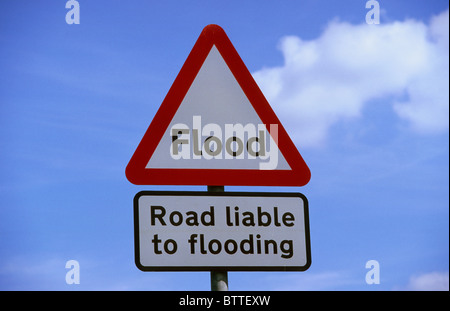 warning roadsign of possible flooding in road ahead yorkshire UK - Stock Photo