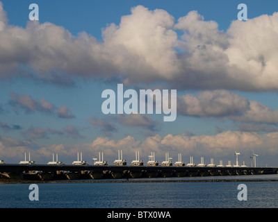 Oosterschelde moveable storm barrier in Zeeland, the Netherlands - Stock Photo