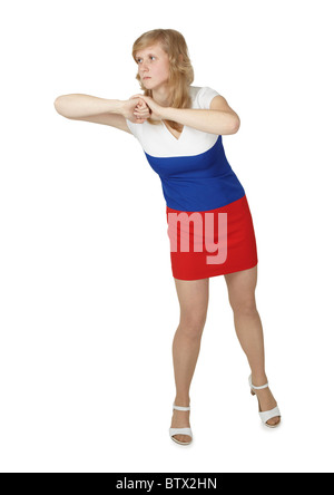 Young woman strikes elbow isolated on a white background - Stock Photo