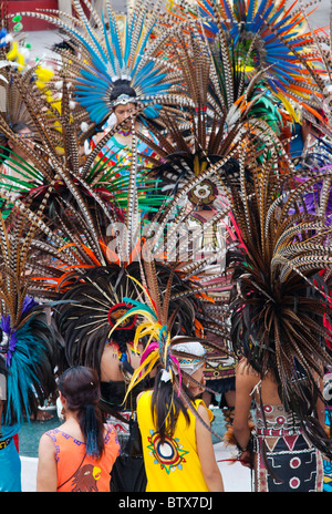NATIVE DANCE TROUPES from all over MEXICO celebrate of San Miguel Arcangel, the patron saint of SAN MIGUEL DE ALLENDE - Stock Photo
