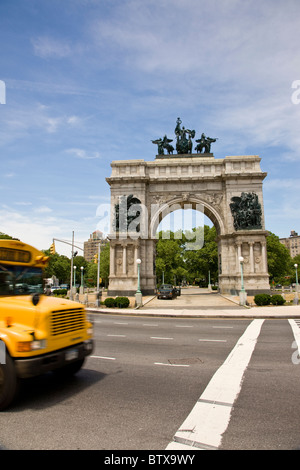 Grand Army Plaza at the tip of Prospect Park in Brooklyn - Stock Photo