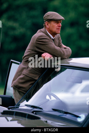 WINDSOR - MAY 13: Prince Philip the Duke of Edinburgh watching the Carriage driving on May 13, 1988 at the Windsor - Stock Photo