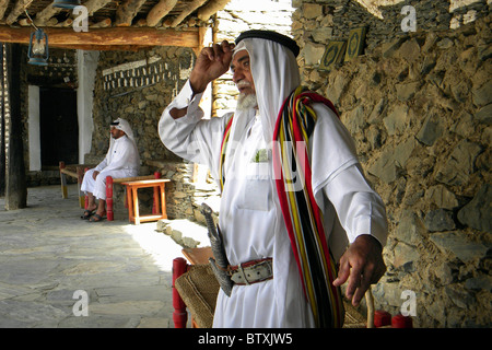 Old man, Asir Rejal al Almaa, Saudi Arabia - Stock Photo