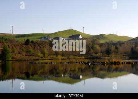 Wind Farm above Bwlch Nant yr Arian, Ceredigion Mid Wales - Stock Photo