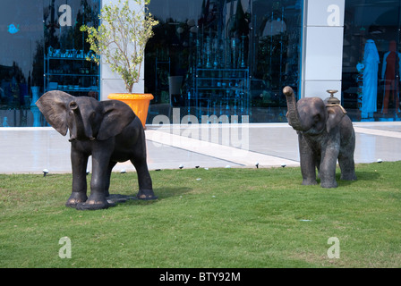 A Pair of Bronze Elephants Sharks Bay Sharm el Sheikh Egypt - Stock Photo