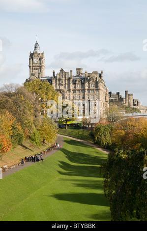The Balmoral Hotel and Princes Street Gardens, Edinburgh. - Stock Photo