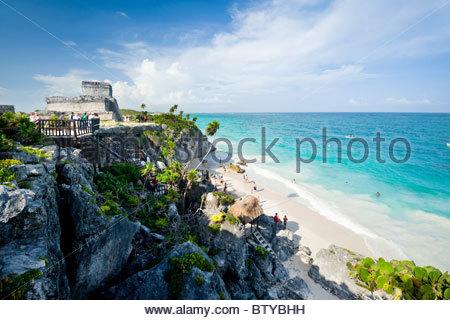 Mayan ruins at Tulum, Quintana Roo, Yucatan peninsula, Mexico. - Stock Photo