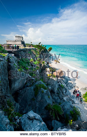 Iguana on rocks below the Mayan ruins at Tulum, Quintana Roo, Yucatan peninsula, Mexico. - Stock Photo