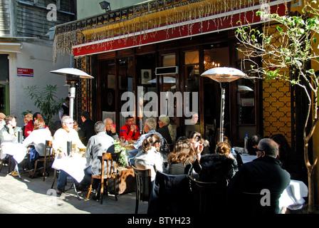 ISTANBUL, TURKEY. Sofyali 9, a popular meyhane on Sofyali Sokagi off Istiklal Caddesi in Beyoglu district. 2010. - Stock Photo