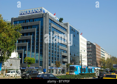 ISTANBUL, TURKEY. Banks and other financial institutions on Necatibey Caddesi in the Tophane district. 2010. - Stock Photo