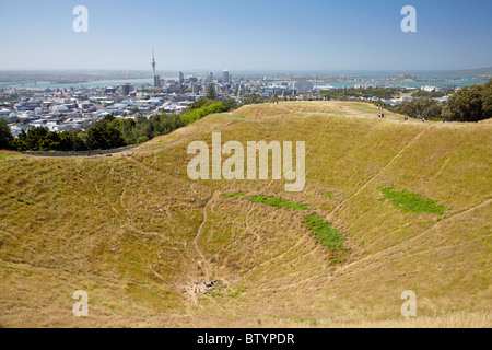 Crater, Mount Eden, Auckland, North Island, New Zealand - Stock Photo