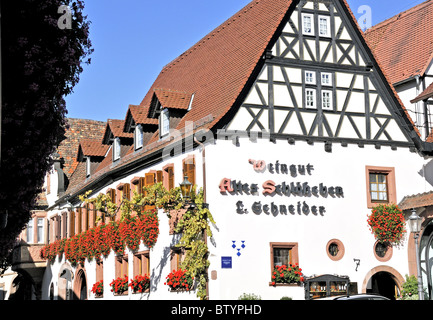 Half timbered winery (weingut) in the pretty village of St. Martin in the Pfalz or Palatinate region of Western - Stock Photo