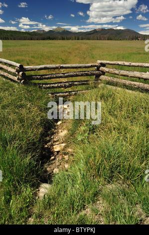 Dry creek bed, Fraser river basin, Fraser, Colorado - Stock Photo