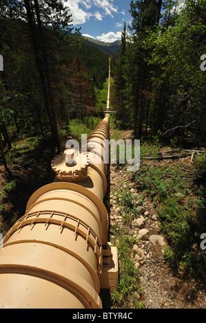 Water Diversion pipeline, Fraser River basin, Fraser, Colorado - Stock Photo