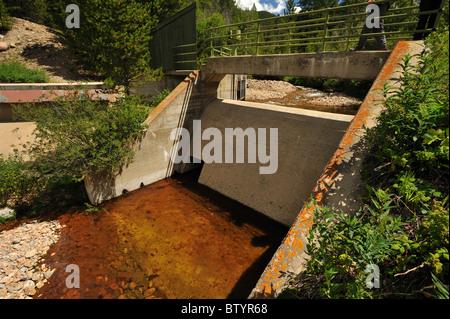 Jim Creek Dam diversion, Fraser river basin, Winter Park, Colorado - Stock Photo