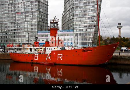 Former Mersey Bar lightship - Planet, overcast day, Canning Dock, Liverpool, UK. (Park West development, Liverpool - Stock Photo