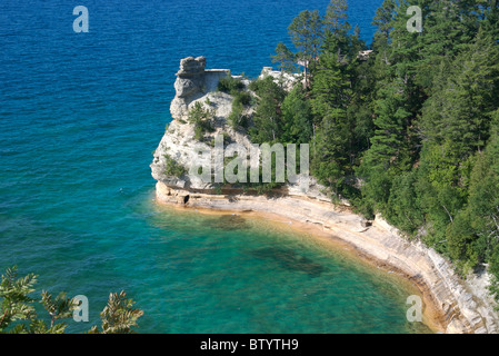 Miners Castle, Pictured Rocks National Lakeshore, Munising, MI - Stock Photo