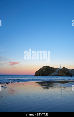 Dawn, Castle Point Lighthouse, Castlepoint, Wairarapa, North Island, New Zealand - Stock Photo