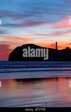 Sunrise, Castle Point Lighthouse, Castlepoint, Wairarapa, North Island, New Zealand - Stock Photo