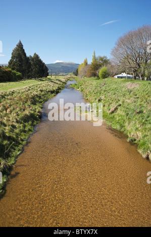 Silver Stream and Floodbanks, Mosgiel, Dunedin, Otago, South Island, New Zealand - Stock Photo