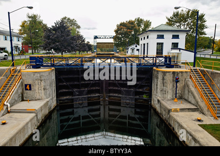 Lock on the Erie Canal in Lyons, New York - Stock Photo