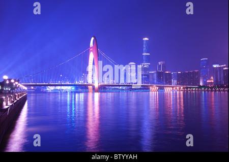 Night scene of Guanghzou city over the Zhujiang River - Stock Photo