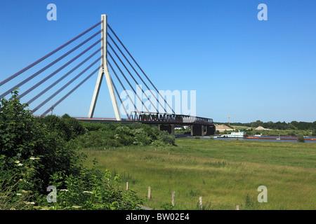 D-Wesel, Rhine, Lower Rhine, North Rhine-Westphalia, NRW, Niederrhein Bridge Wesel, Rhine bridge, road bridge, cable - Stock Photo