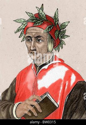 Dante Alighieri (1265-1321). Italian poet. Colored engraving. - Stock Photo
