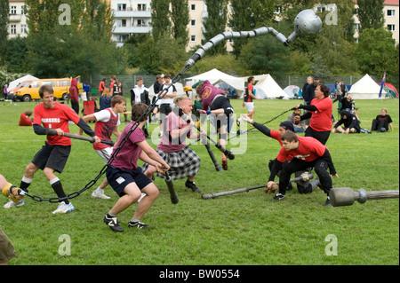 Jugger players in Jahnsportpark, Berlin, Germany - Stock Photo
