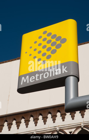Metrolink stop/station sign,Deansgate-Castlefield,Manchester. - Stock Photo