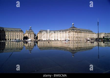 france, bordeaux city, place de la bourse - Stock Photo